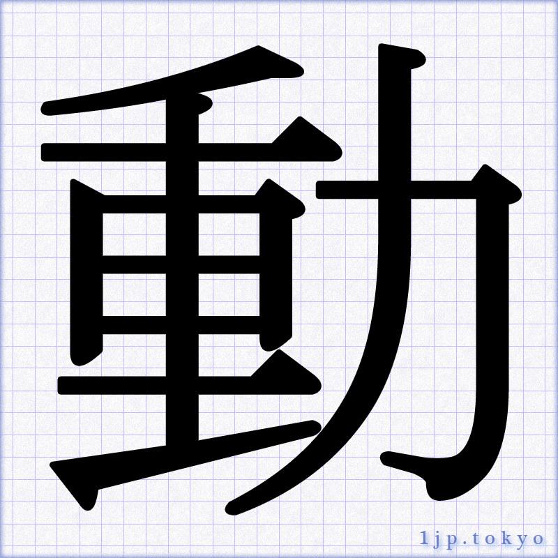 「動」文字の手本